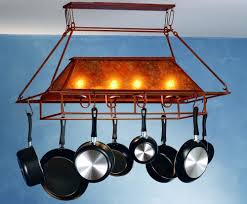 rustic pot rack with lights