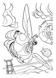 Baymax And Hiro Flying Coloring Pages For Kids Printable Free Big