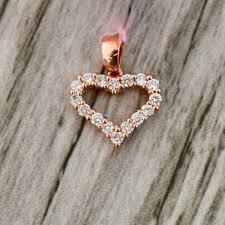 heart shaped diamond pendant in rose