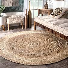 nuloom hand braided jute tajt03 606r round area rug natural 6 feet