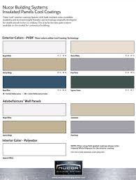 Nucor Building Systems Color Chart Colors Kalex Steel Buildings