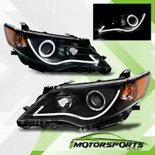 R8 Style] 2012 2013 2014 Toyota Camry Black LED Bar Halo Projector ...