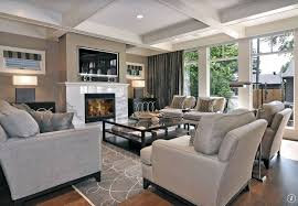 contemporary living room with momeni elements grey area rug calacatta marble slab fireplace surround