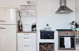 white fridge in kitchen. kitchen:small scandinavian kitchens design with wood burner also wall mount metal hood plus white fridge in kitchen w