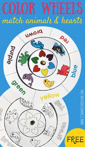 Laminate the color wheel printable (download instructions above) or slide it into a page protector. Fun Color Matching For Kids Printable Activity