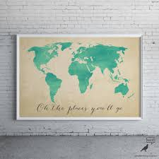 World Map Home Decor Watercolor Map Oh The Places Youll Go Inspirational