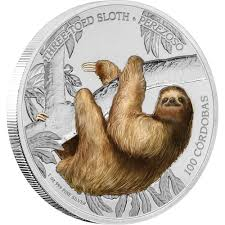 wildlife of nicaragua three toed sloth 1oz silver coin