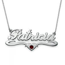 silver and swarovski middle heart name necklace the name jewellery