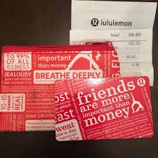lululemon gift card with red zipper pouch and receipt 62 63 ebay