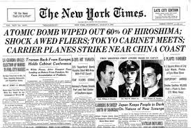 Image result for 1945, atomic bomb on hiroshima. newspapers