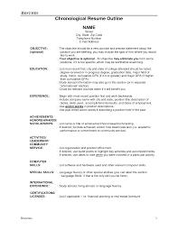 Sample Resume Outline Resume Outline Example On Resume Summary