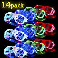 Rave Theme Party Glow In The Dark Led Glasses 14 Pack Bulk Light Up Rave Glasses