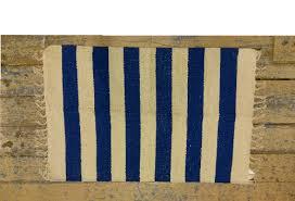 60 x 90 natural cotton rug electric blue stripe
