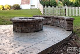 concrete patio with square fire pit. Cool Square Fire Pit Ideas Stamped Concrete Patio With Blocks .
