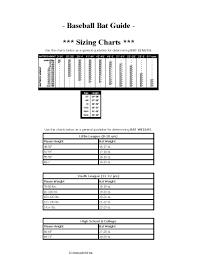 Baseball Bat Weight Chart Baseball Bat Guide Sizing Chart Pdf Format E Database Org