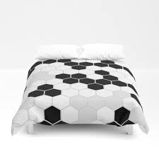 honeycomb pattern black and white design minimalism duvet cover