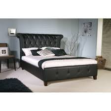 epsilon king size bed in black faux leather