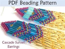 Brick Stitch Patterns Stunning Cascade Sunset Earrings Brick Stitch PDF Beading Pattern Interweave
