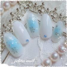 冬チーク雪の結晶水色ネイルチップ Jelita Nail麻生理香子の