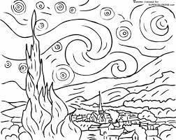 Disegno Di Notte Stellata Di Vincent Van Gogh Da Colorare Disegni