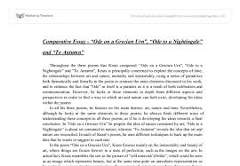 comparative essay ode on a grecian urn ode to a nightingale and  document image preview
