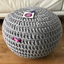 Stuffed Crochet Poufs Ottoman Soft cotton Filled with Polystyrene ...