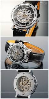 mechanical mens watch skeleton analogue new silver black leather transparent dial skeleton design gives you the most fashionable point of view 2 stainless steel watch case makes the watch more durable