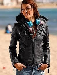 women s hooded faux leather jacket