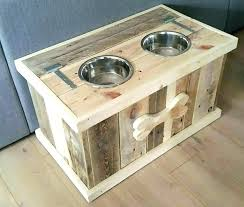 raised dog bowls with storage pallet bowl stand furniture food pet dish