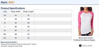 Next Level Kids Size Chart Next Level 6051 Womens Tri Blend 3 4 Sleeve Extreme Softness Raglan Tee Shirt