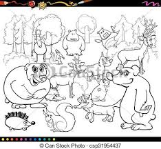 black and white animal clipart group. Wild Animals Coloring Book Intended Black And White Animal Clipart Group