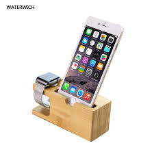 cell phone charger dock with watch bamboo holder desk wood charging stand for iphone 7 plus