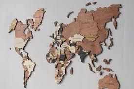 3d world map wood map wall art wood