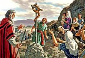 Image result for moses lifting up the pole with serpent pictures