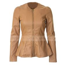 womens junior collarless cognac faux leather jacket