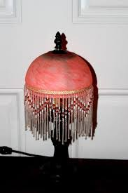 Antique Art Deco Beaded Marbled Glass Lamp Shade Circa 1930s