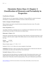 Chemistry Notes Class 11 Chapter 3 Classification of Elements and
