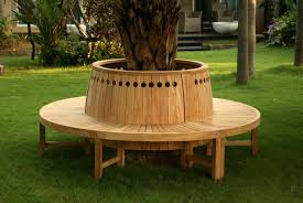 round tree bench with circular cutouts