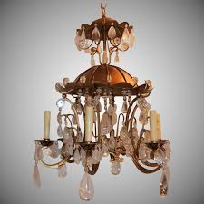 gold gilt paa rock crystal vintage chandelier fixture