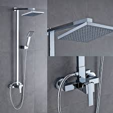Auralum Bathroom Mixer Shower Set With Square 8 Shower Head And Handheld Shower Holder