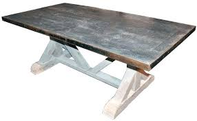 beautiful zinc top table interiors dining room rectangular coffee square coffee table square zinc top distressed