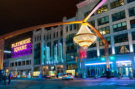 one of cleveland s splashiest new landmarks is the giant chandelier suspended above euclid avenue in the center of the theater district playhouse square