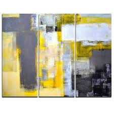 shop designart canada grey and yellow blur abstract canvas art at lowe s canada find our selection of canvas art at the lowest price guaranteed with price  on grey and yellow wall art canada with grey and yellow blur abstract 3 piece painting print on wrapped