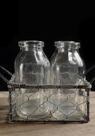 Decorative Milk Bottles Four Glass Milk Bottles in Chicken Wire Carrier Glass milk 14