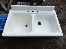 antique cast iron porcelain 42 farm sink double basin vintage