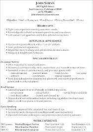 Sample Resume Of Waitress Restaurant Resume Sample Innovation Design ...