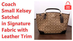 Coach Small Kelsey Satchel in Signature Fabric with Leather Trim 36181 -  YouTube