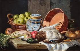 still life with fruit vegetables and dead game sold