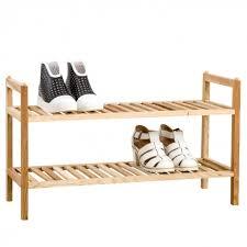 shoe rack 2 tier wooden walnut