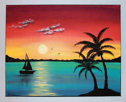 original acrylic painting canvas paradise от picturesquefolkart